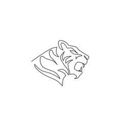 One continuous line drawing african tiger head vector