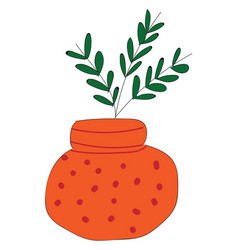 orange dotted vase with plant inside on white vector image