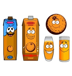 Orange juice cartoon characters vector image
