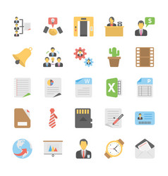 Pack of office and project management flat vector