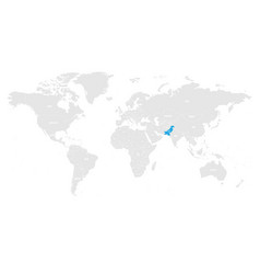 pakistan marked by blue in grey world political vector image