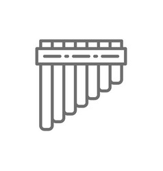 Pan pipes bamboo peruvian flute line icon vector