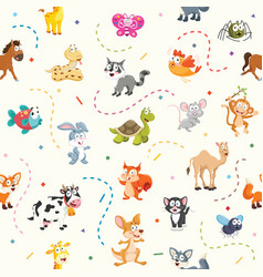 Pattern of cartoon animals vector