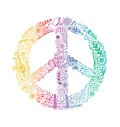 Peace symbol made of hippie theme doodle vector