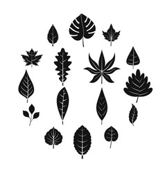 plant leafs icons set simple style vector image