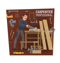 professional carpentry worker character vector image