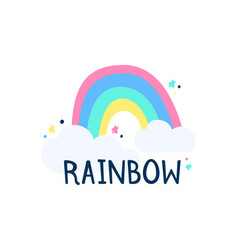 rainbow and clouds on a white background object vector image