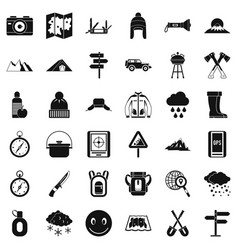 rockclimbing icons set simple style vector image