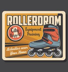 roller skates rollerdrom leisure sport activity vector image