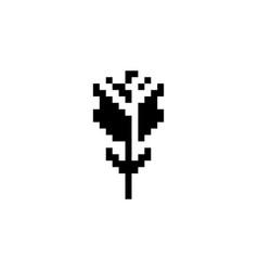Rose pixel icon flower vector