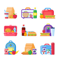 School kid lunch box healthy and nutritional food vector