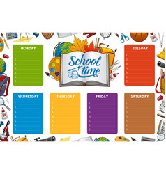 School timetable week schedule color notes vector