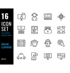 set 16 icons online learning thin line style vector image