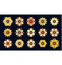 Set of vintage flowers vector