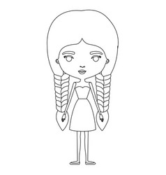 Silhouette caricature skinny woman in dress vector