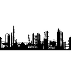 Silhouette of oil refinery plant vector