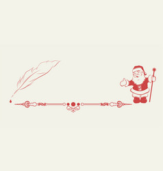 Silhouette of santa claus and pen vector