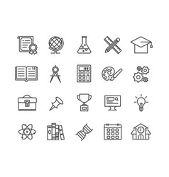 simple set of education thin line icons vector image