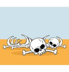 Skeleton in desert Skull and bones lying on yellow vector
