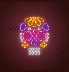 skull neon sign glowing neon design for day vector image