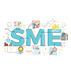sme small and medium enterprise word lettering vector image