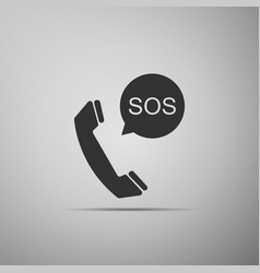 sos call icon isolated on grey background vector image