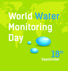 Square banner world water monitoring day poster vector