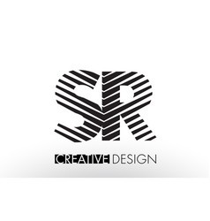 sr s r lines letter design with creative elegant vector image