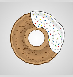 Sweet donut with white cream vector