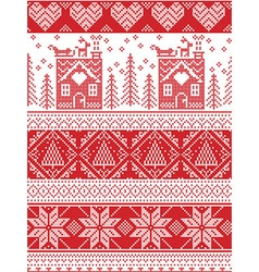 Tall xmas pattern with gingerbread house vector image