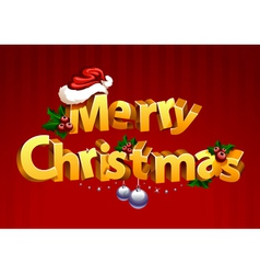 Three-dimensional gold christmas typography vector image