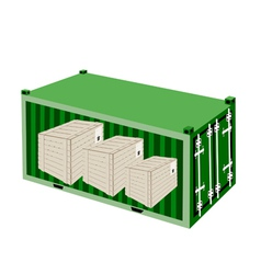 Three Wooden Crates in A Cargo Container vector image