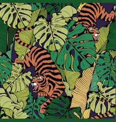 Tiger in tropical leaves crouching tiger seamless vector