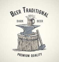 Traditional and vintage beer logo vector
