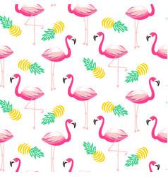 Tropical flamingo seamless pattern vector