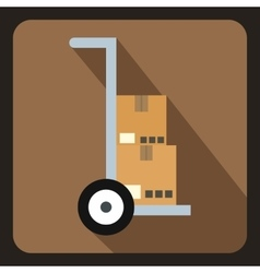 Truck with boxes icon flat style vector
