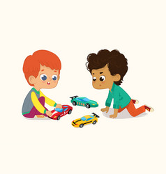 Two cute boys playing vector