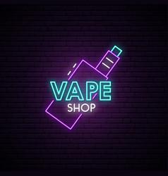 vape shop neon sign neon advertising signboard vector image