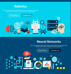 Website neural networks banners vector