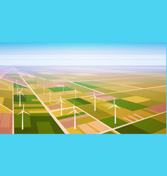 wind turbine energy renewable station field vector image