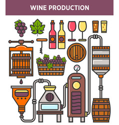 Wine production factory or winery winemaking vector