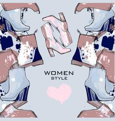women seamless hand drawn pattern vector image