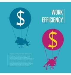Work efficiency banner Business people flying vector