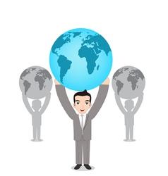 World in hands vector image