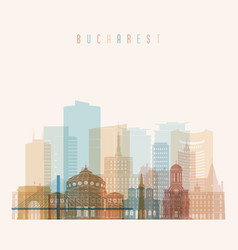bucharest skyline detailed silhouette transparent vector image vector image