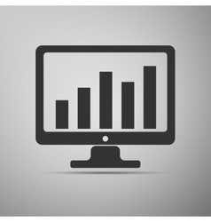 Display with business graph icon vector image vector image