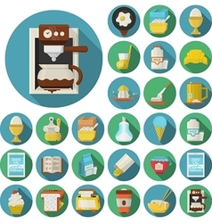 Flat design icons for breakfast vector image vector image