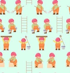 pattern cartoon builders working Little builders vector image