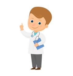 smiling cartoon doctor vector image