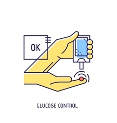 Blood glucose test Diabetes thin line icon vector image vector image